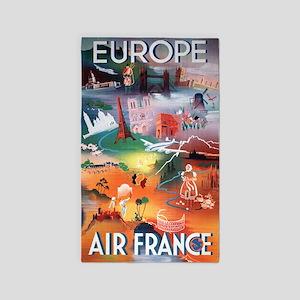 Europe Air France Vintage Travel Poster Area Rug
