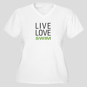 Live Love Swim Women's Plus Size V-Neck T-Shirt