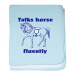 Talk horse - purple baby blanket