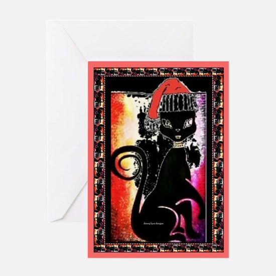 Santa Diva Cat Black Card Greeting Cards