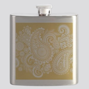 WHITE PAISLEY ON GOLD Flask