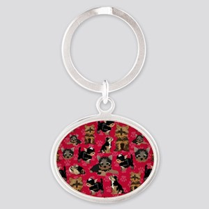 Yorkies (Red Paws) Oval Keychain