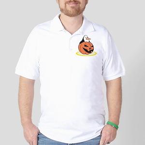 Penguin in Pumpkin Golf Shirt