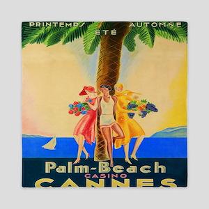 Cannes, Palm Beach, France, Vintage Tr Queen Duvet