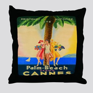 Cannes, Palm Beach, France, Vintage T Throw Pillow
