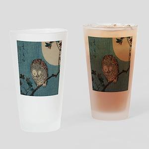 Owl on a Tree Limb; Vintage Japanes Drinking Glass