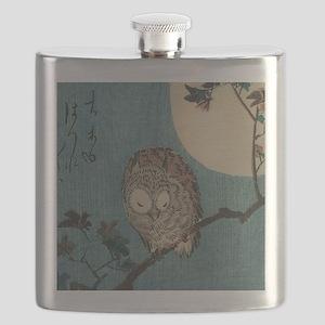 Owl on a Tree Limb; Vintage Japanese Art Flask