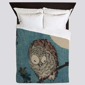 Owl on a Tree Limb; Vintage Japanese A Queen Duvet