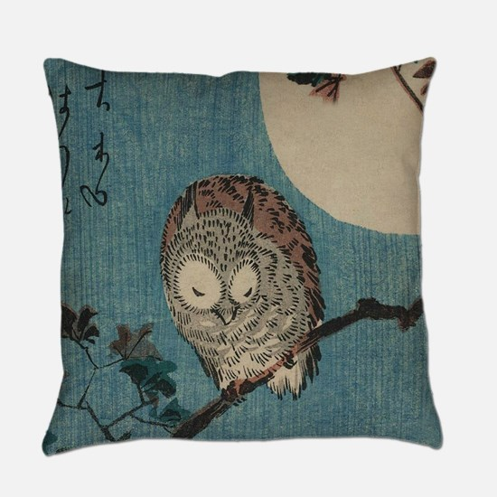 Owl on a Tree Limb; Vintage Japane Everyday Pillow