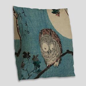 Owl on a Tree Limb; Vintage Ja Burlap Throw Pillow