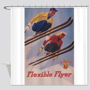 Flexible Flyer Vintage Ski Poster Shower Curtain