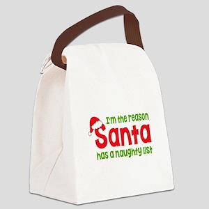 Santa Naughty List Canvas Lunch Bag