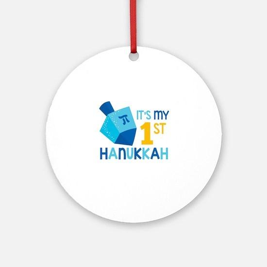 It's My 1st Hanukkah Round Ornament
