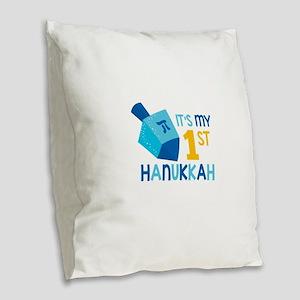 It's My 1st Hanukkah Burlap Throw Pillow