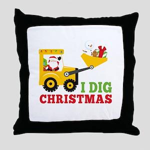 I Dig Christmas Throw Pillow