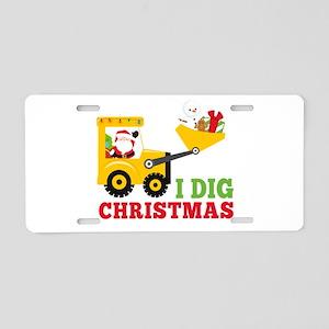 I Dig Christmas Aluminum License Plate