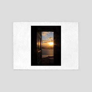 Santorini Sunset Through Door 5'x7'Area Rug