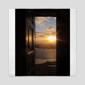 Santorini Sunset Through Door Queen Duvet