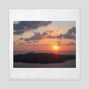 Brilliant Santorini Sunset Queen Duvet