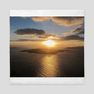 Golden Santorini Sunset Queen Duvet