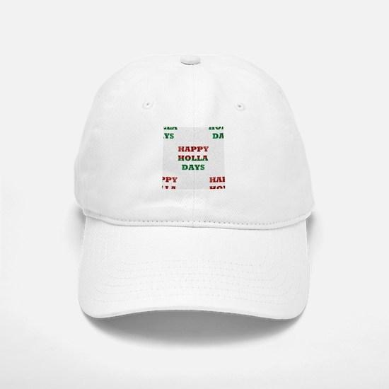 christmas happy holla days Baseball Baseball Cap