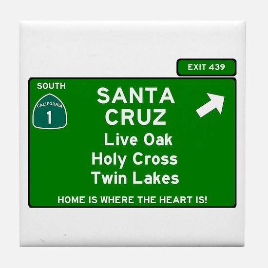 HIGHWAY 1 SIGN - CALIFORNIA - SANTA C Tile Coaster