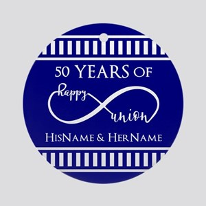 50th Wedding Anniversary Personaliz Round Ornament