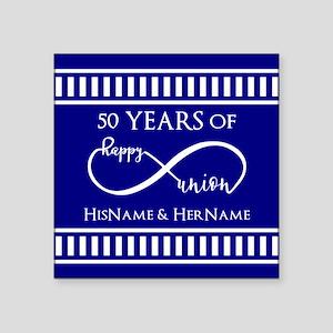 """50th Wedding Anniversary Pe Square Sticker 3"""" x 3"""""""
