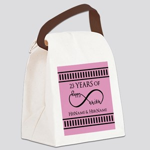 Pink and Black Mr. and Mrs. Weddi Canvas Lunch Bag