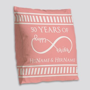 Infinity 50th Wedding Annivers Burlap Throw Pillow