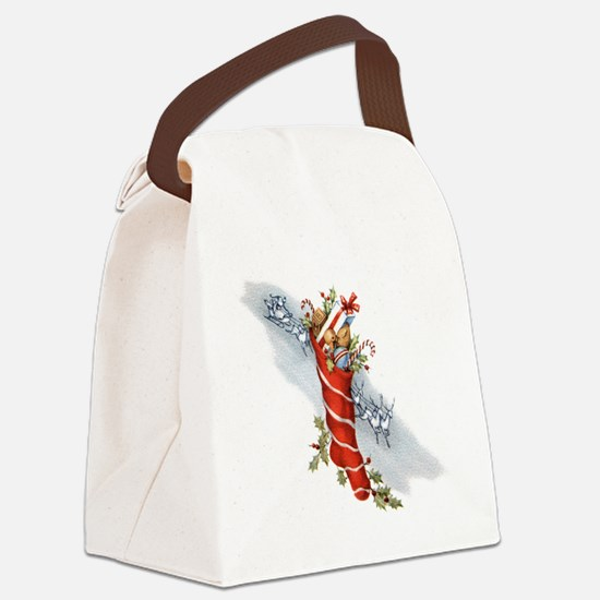 Vintage Christmas Stocking Canvas Lunch Bag