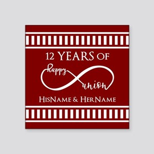 "Red Personalized Wedding An Square Sticker 3"" x 3"""