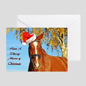 Funny Horse Santa Christmas Card Greeting Cards
