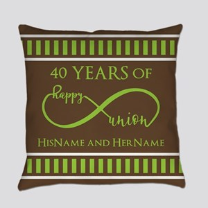 40th Wedding Anniversary Brown Lim Everyday Pillow