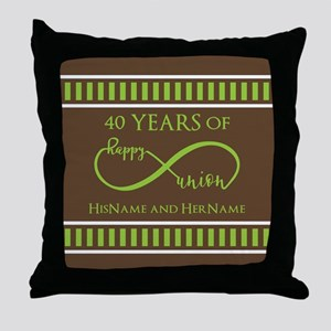 40th Wedding Anniversary Brown Lime I Throw Pillow
