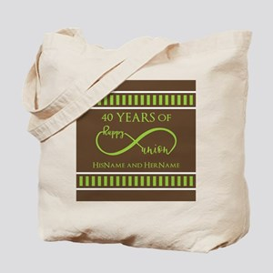 40th Wedding Anniversary Brown Lime Infin Tote Bag