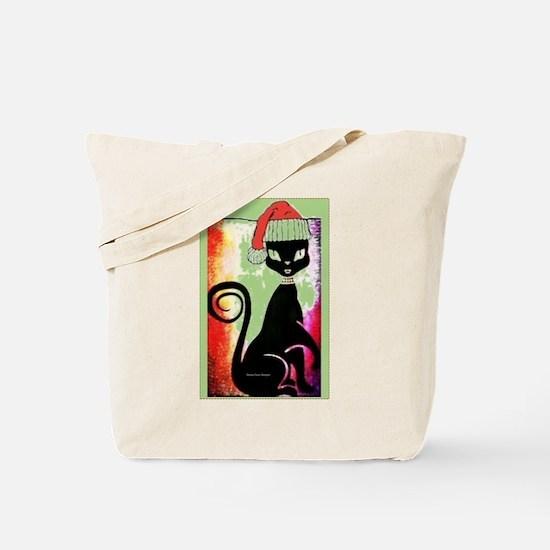 Santa Diva Cat Green Tote Bag