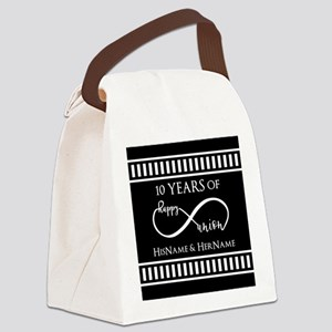 Black White Mr. and Mrs. Wedding Canvas Lunch Bag