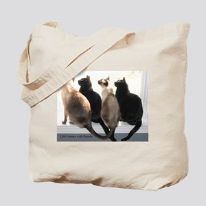 Bird Watching With Cat Friends Tote Bag