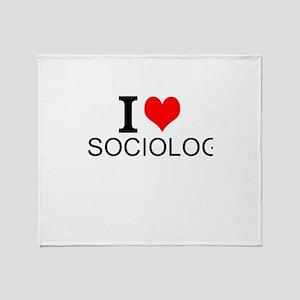 I Love Sociology Throw Blanket