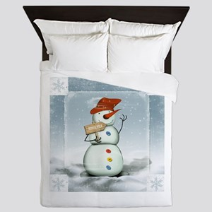 Snowman in North Pole Queen Duvet