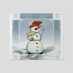 Snowman in North Pole Throw Blanket