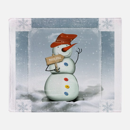 Snowman in North Pole Throw Blanket