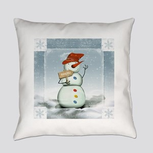Snowman in North Pole Everyday Pillow