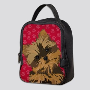 Yorkie Face (red) Neoprene Lunch Bag