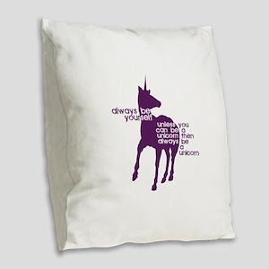 Purple Unicorns Burlap Throw Pillow