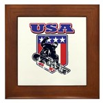 Patiotic Usa Snowboarder Framed Tile