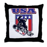 Patiotic USA Snowboarder Throw Pillow