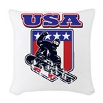 Patiotic Usa Snowboarder Woven Throw Pillow