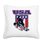 Patiotic USA Snowboarder Square Canvas Pillow